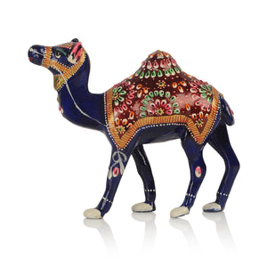 Meenakari Royal Blue Standing Camel In Enamelled Metal Art