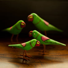 Load image into Gallery viewer, Handmade And Hand Painted Parrot Family Showpiece In Wood