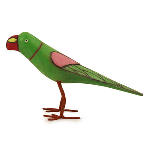 Handmade And Hand Painted Parrot Family Showpiece In Wood