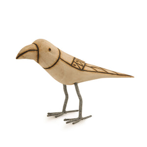 Handmade And Hand Painted Bird Family Showpiece In Wood