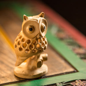 Handmade Wooden Carved Owl Showpiece