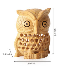 Load image into Gallery viewer, Handmade Wooden Carved Owl Showpiece