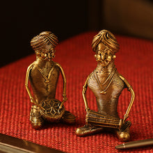 Load image into Gallery viewer, 'The Melodious Musicians' Handmade Brass Figurine In Dhokra Art (Set Of 2)