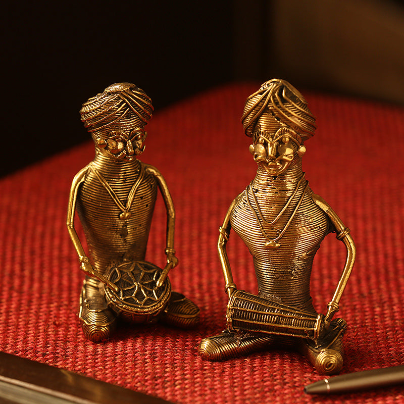 'The Melodious Musicians' Handmade Brass Figurine In Dhokra Art (Set Of 2)
