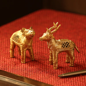 'Royal Twins' Handmade Brass Figurines In Dhokra Art (Set Of 2)