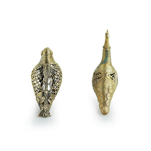 'Golden Birds' Handmade Brass Showpiece In Dhokra Art (Set Of 2)