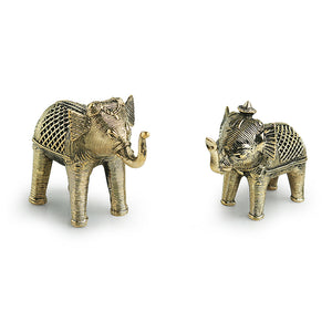 'Golden Elephants' Handmade Brass Figurine In Dhokra Art (Set Of 2)