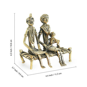'Golden Couple' Handmade Brass Figurine In Dhokra Art