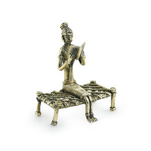 'Man On Khatiya' Handmade Brass Figurine In Dhokra Art