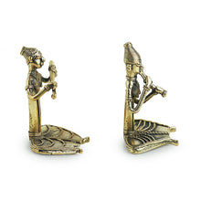 Load image into Gallery viewer, 'Happy Flutists'Handmade Brass Figurine In Dhokra Art (Set Of 2)