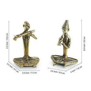 'Happy Flutists'Handmade Brass Figurine In Dhokra Art (Set Of 2)