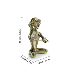 'Kingri Musician' Handmade Brass Figurine In Dhokra Art