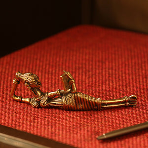 'Reading Beauty' Handmade Brass Figurine In Dhokra Art