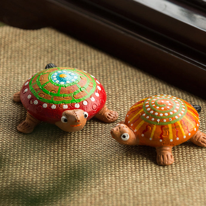 'Squirtle-Turtle' Handmade Garden Decorative Showpiece In Terracotta