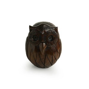 'The Wise Owl' Hand Carved & Hand Painted Spectacle Holder Cum Showpiece In Eucalyptus Wood