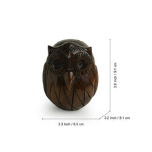 Load image into Gallery viewer, 'The Wise Owl' Hand Carved & Hand Painted Spectacle Holder Cum Showpiece In Eucalyptus Wood