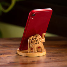 Load image into Gallery viewer, 'The Saluting Elephant' Hand Carved & Hand Painted Mobile Stand Cum Showpiece In Cedar Wood