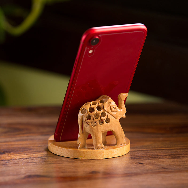 'The Saluting Elephant' Hand Carved & Hand Painted Mobile Stand Cum Showpiece In Cedar Wood