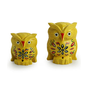 'The Early Morning Owl Pair' Hand Carved & Hand Painted Showpiece In Eucalyptus Wood
