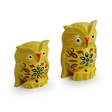 Load image into Gallery viewer, 'The Early Morning Owl Pair' Hand Carved & Hand Painted Showpiece In Eucalyptus Wood