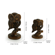 Load image into Gallery viewer, 'The Resting Owl Pair' Hand Carved & Hand Painted Showpiece In Cedar Wood