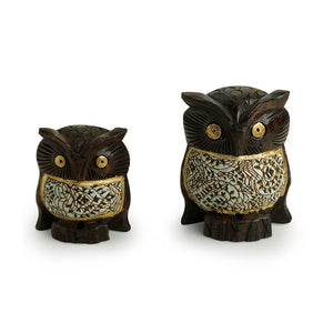 'Fury Owl Pair' Hand Carved & Hand Painted Cotton Cloth Showpiece In Eucalyptus Wood
