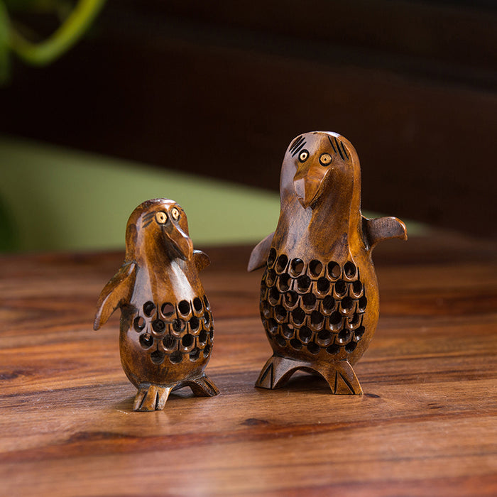 'The Playing Penguins' Hand Carved & Hand Painted Showpiece In Cedar Wood