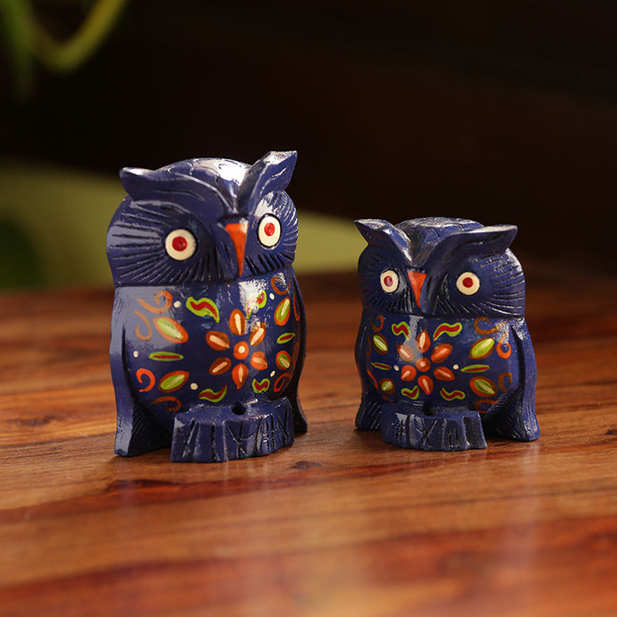'The Majestic Blue Owl Pair' Hand Carved & Hand Painted Showpiece In Eucalyptus Wood