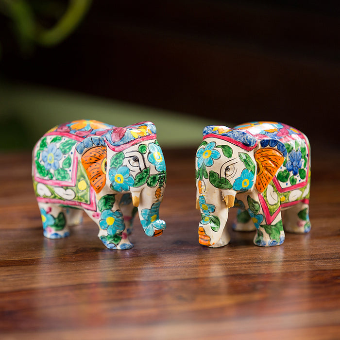 'The Iconic Tuskers' Hand Carved & Hand Painted Blue Pottery Showpiece In Eucalyptus Wood