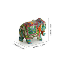 Load image into Gallery viewer, 'The Iconic Tuskers' Hand Carved & Hand Painted Blue Pottery Showpiece In Eucalyptus Wood