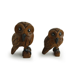 'The Lounging Owls' Hand Carved & Hand Painted Showpiece In Eucalyptus Wood