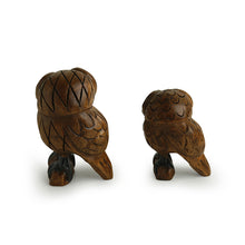 Load image into Gallery viewer, 'The Lounging Owls' Hand Carved & Hand Painted Showpiece In Eucalyptus Wood