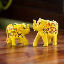 Load image into Gallery viewer, 'The Sunny Elephants' Hand Carved & Hand Painted Showpiece In Eucalyptus Wood