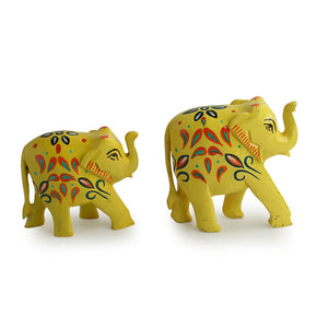'The Sunny Elephants' Hand Carved & Hand Painted Showpiece In Eucalyptus Wood
