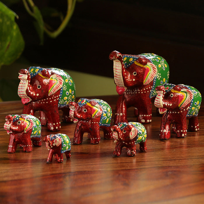 'Seven Tuskers In Maroon' Hand Carved & Hand Painted Showpiece In Fibre