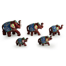 Load image into Gallery viewer, 'Five Tuskers In Brown' Hand Carved & Hand Painted Showpiece In Fibre