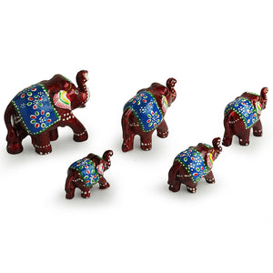 'Five Tuskers In Brown' Hand Carved & Hand Painted Showpiece In Fibre