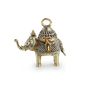 'Royal Elephant' Handmade Brass Figurine Cum Box In Dhokra Art