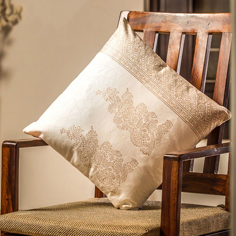 Charmer Wooden Handblocked Cushion Cover In Soft Cotton