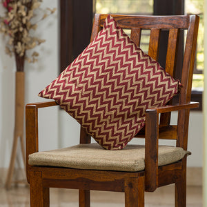 """Chevron Pattern Hand Blocked"" Cushion Cover In Silk"