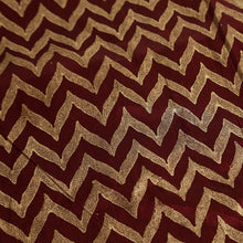 "Load image into Gallery viewer, ""Chevron Pattern Hand Blocked"" Cushion Cover In Silk"