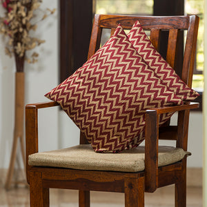 """Chevron Pattern Hand Blocked"" Cushion Cover In Silk (Set Of 2)"
