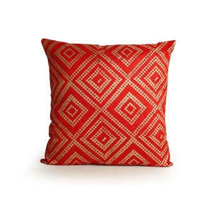 """The Geometrical Castle Walls Hand Blocked"" Cushion Cover In Silk"