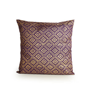 """The Royal Tessellation Hand Blocked"" Cushion Cover In Silk"