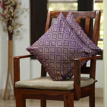 "Load image into Gallery viewer, ""The Royal Tessellation Hand Blocked"" Cushion Cover In Silk (Set Of 2)"