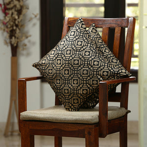 """Tessellation Pattern Hand Blocked"" Cushion Cover In Silk (Set Of 2)"