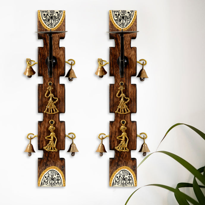 Dhokra Candle Stand With Bells