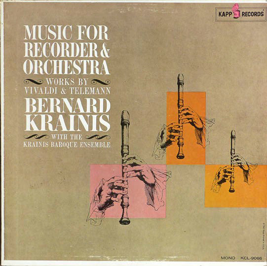 Vivaldi,  Telemann, Bernard Krainis With The Krainis Baroque Ensemble ‎/ Music For Recorder And Orchestra - Works By Telemann & Vivaldi - LP (used)