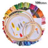 Hand Embroidery Kit with Instructions, 100  Colors Threads