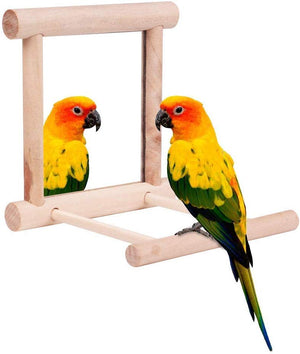 Wooden Bird Stand with Mirror